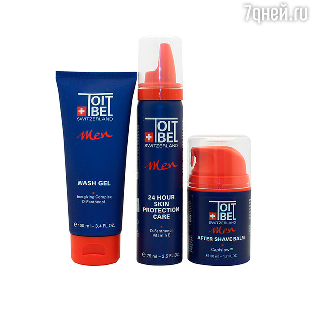 Гель для умывания Wash gel от ToitBel, Крем для лица 24 Hour Skin Protection Care от ToitBel, бальзам Men After Shave Balm от ToitBel