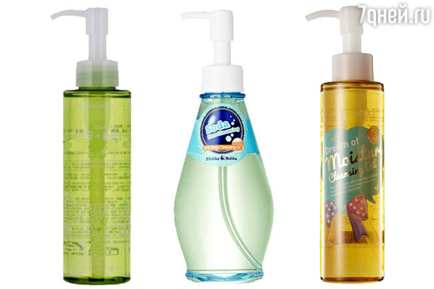 Гидрофильные масла: Clean Dew Apple Mint Cleansing Oil от Tony Moly, Soda Pore Cleansing B.B Deep Cleansing Oil от Holika Holika, Dream of Moisture Cleansing Oil от Shara Shara
