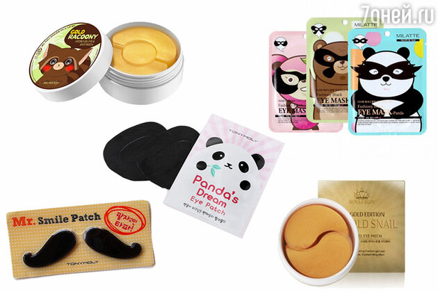 Патчи для глаз и губ: Gold Racoony Hydrogel Eye & Spot Patch от Secret Key, Fashiony Black Eye Mask от MILATTE, Panda's Dream Eye Patch, Mr. Smile Patch, все Tony Moly, 24K Gold Snail Hydro Gel Eye Patch от Royal Skin