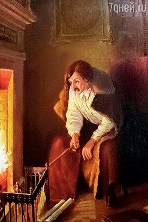 Фото репродукции картины М. Клодта «Гоголь сжигает рукопись второго тома «Мертвых душ», 1852 год