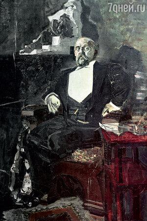 Фото репродукции картины «Портрет Саввы Ивановича Мамонтова» работы М. Врубеля. 1897 г. Государственная Третьяковская галерея