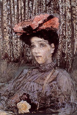Фото репродукции картины М. Врубеля «Портрет Н.И. Забелы-Врубель на фоне березок». 1904 г.