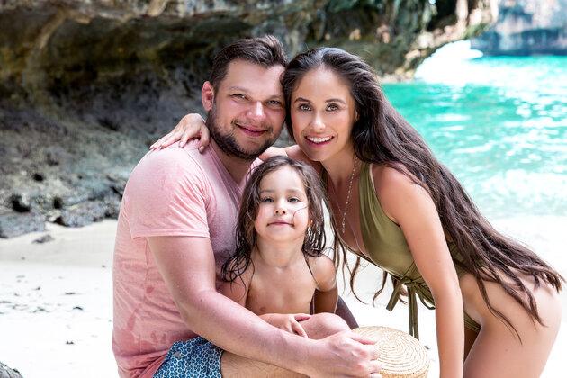 Илана Юрьева с дочерью и мужем