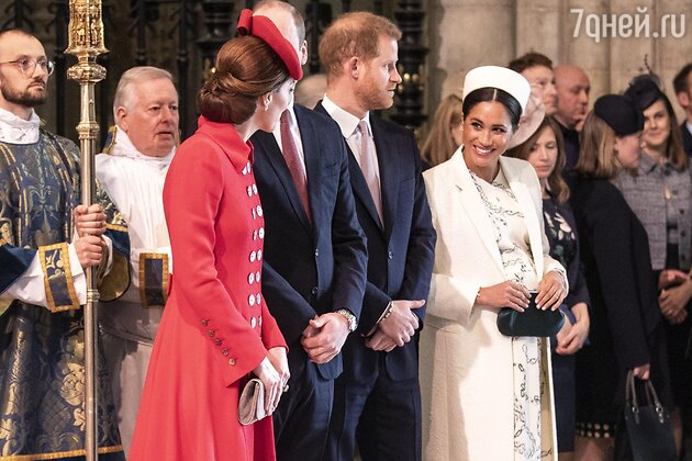 Принц Уильям, герцогиня Кэтрин, принц Гарри и герцогиня Меган
