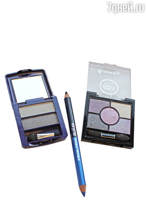 Тени для век The ONE Colour Match от Oriflame, двусторонний карандаш для глаз Very me Double Trouble от Oriflame, палетка Rimmel Glam'Eyes HD 5-Colour Eye Shadow