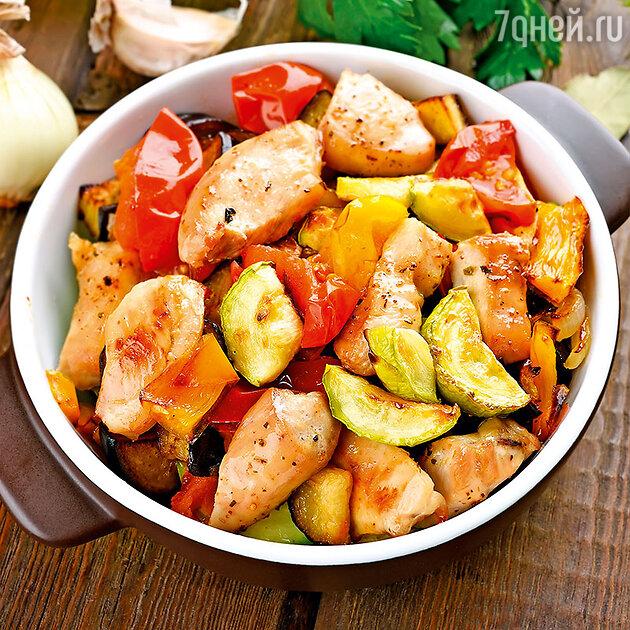 Курица с овощами, запеченная в аэрогриле