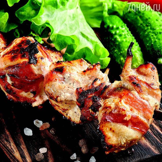Куриный шашлык с беконом и сыром: рецепт от фудблогера Арутюняна Марспеда. фото